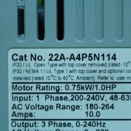[중고] 22A-A4P5N114 Allen-Bradley 인버터 드라이브, 1 상 입력, 240Hz 출력 0.75kW